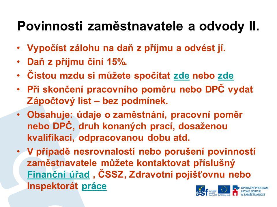 Povinnosti zaměstnavatele a odvody II.