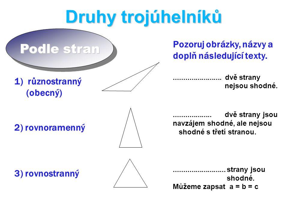 Druhy trojúhelníků Podle stran