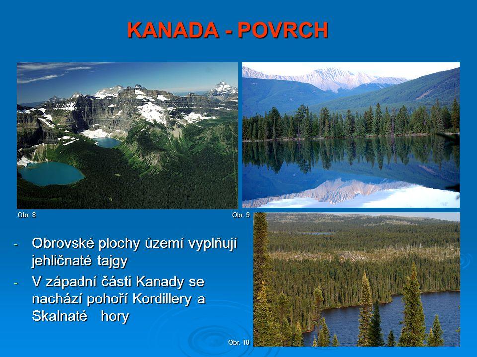KANADA - POVRCH Obrovské plochy území vyplňují jehličnaté tajgy