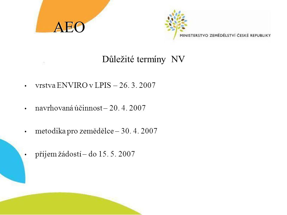 AEO Důležité termíny NV vrstva ENVIRO v LPIS – 26. 3. 2007