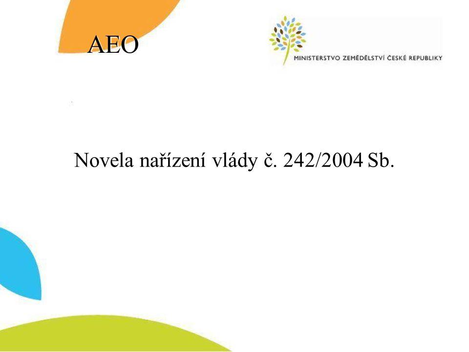 Novela nařízení vlády č. 242/2004 Sb.