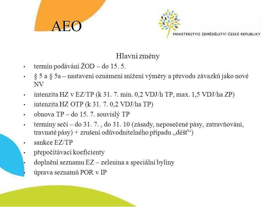 AEO Hlavní změny termín podávání ŽOD – do 15. 5.