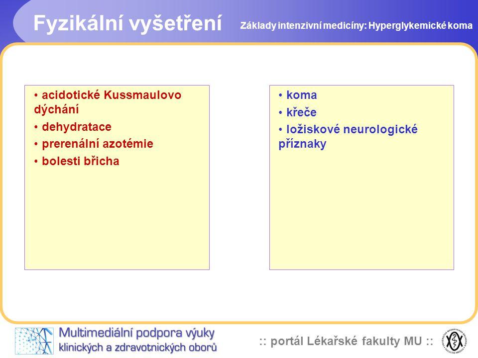 Fyzikální vyšetření acidotické Kussmaulovo dýchání dehydratace