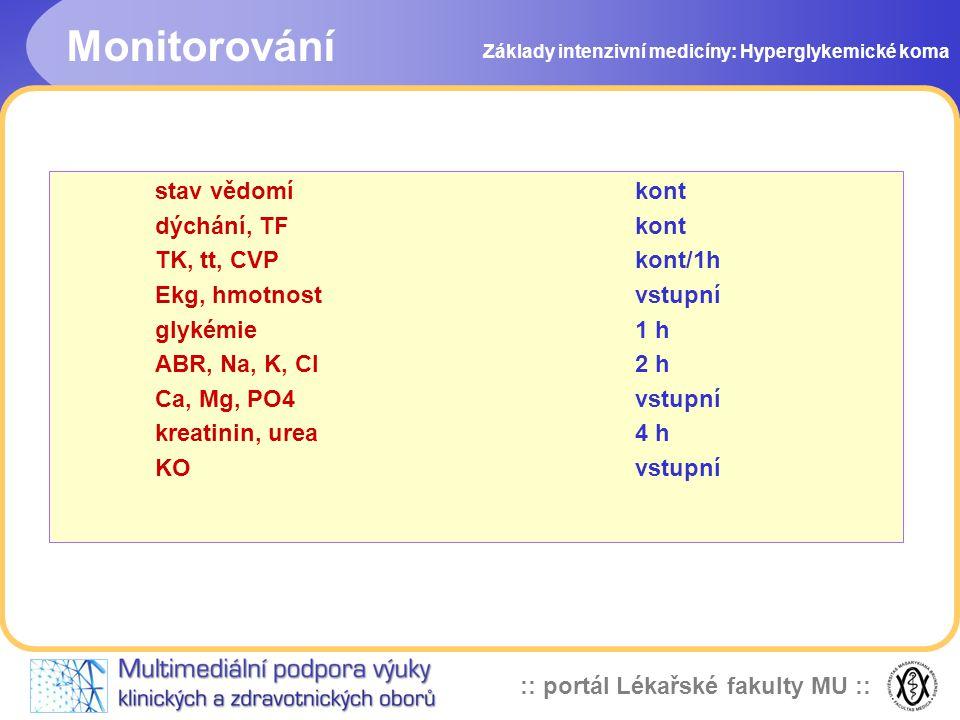 Monitorování stav vědomí kont dýchání, TF kont TK, tt, CVP kont/1h