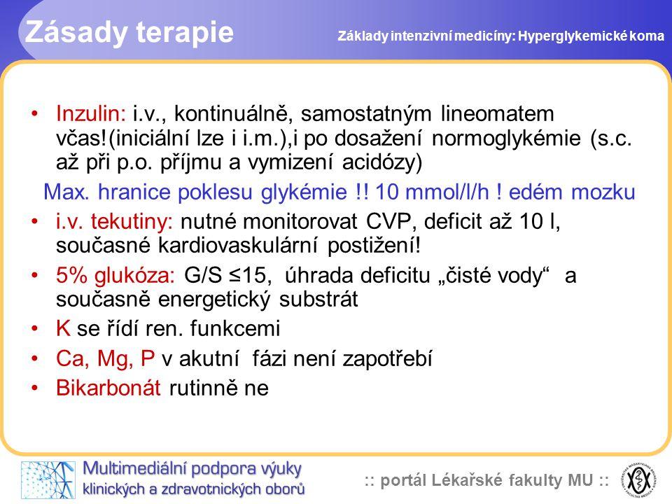 Zásady terapie Základy intenzivní medicíny: Hyperglykemické koma.