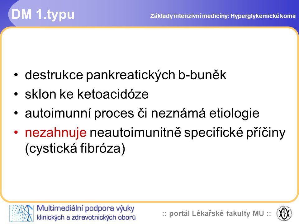 destrukce pankreatických b-buněk sklon ke ketoacidóze