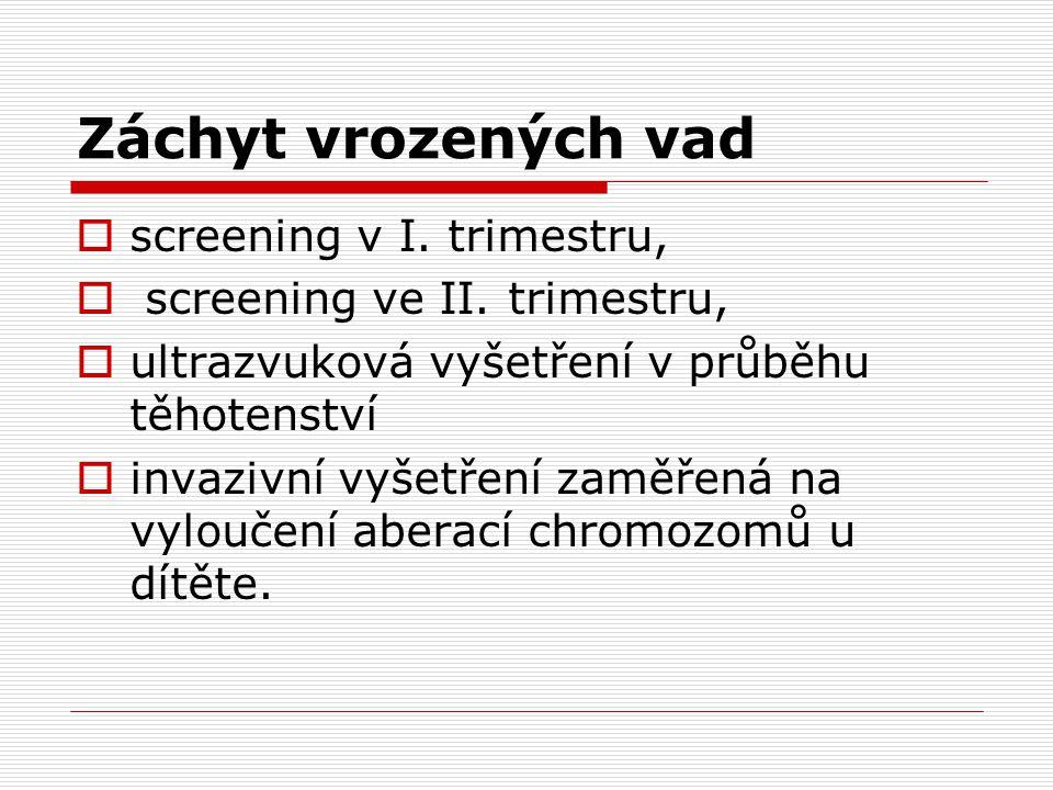 Záchyt vrozených vad screening v I. trimestru,