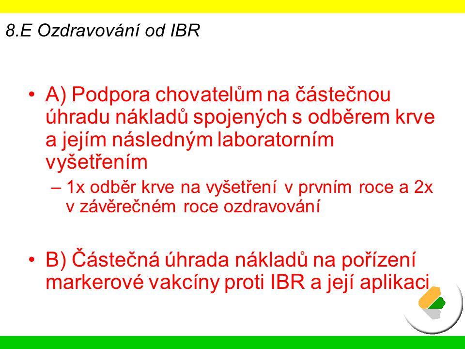 8.E Ozdravování od IBR A) Podpora chovatelům na částečnou úhradu nákladů spojených s odběrem krve a jejím následným laboratorním vyšetřením.