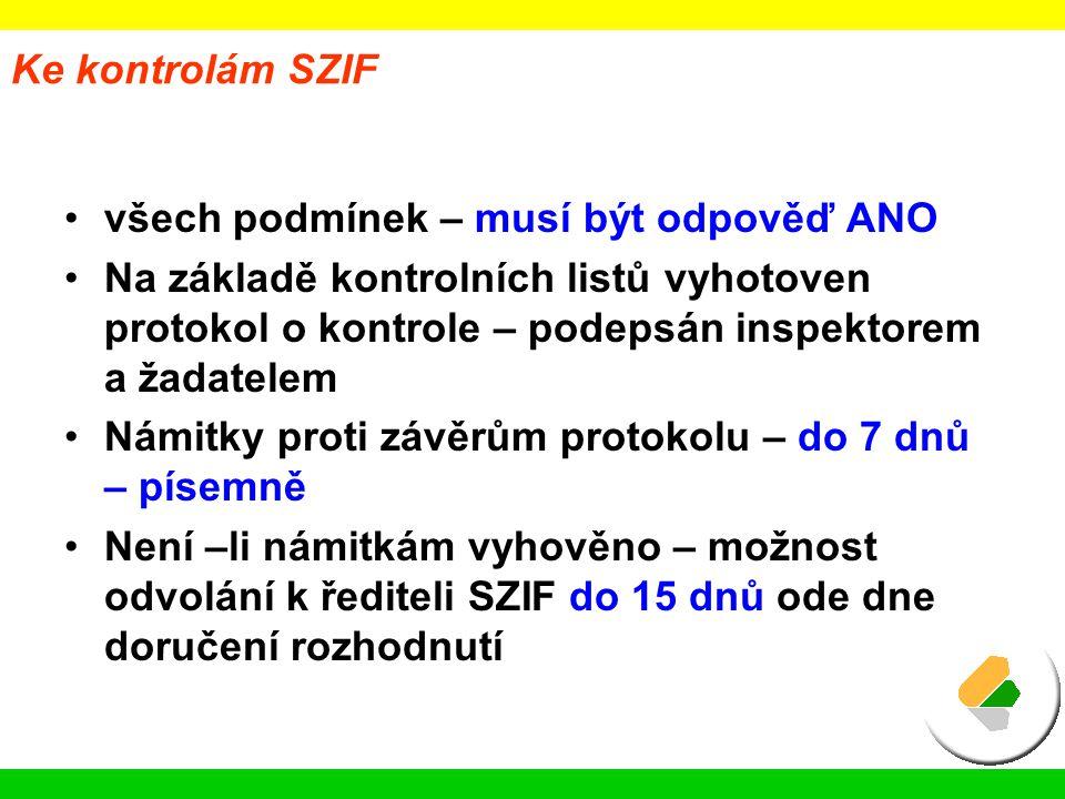 Ke kontrolám SZIF všech podmínek – musí být odpověď ANO.