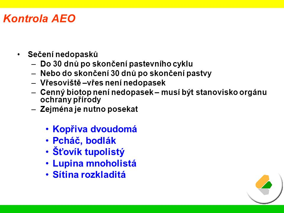 Kontrola AEO Kopřiva dvoudomá Pcháč, bodlák Šťovík tupolistý