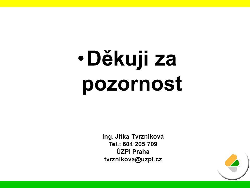 Děkuji za pozornost Ing. Jitka Tvrzníková Tel.: 604 205 709 ÚZPI Praha