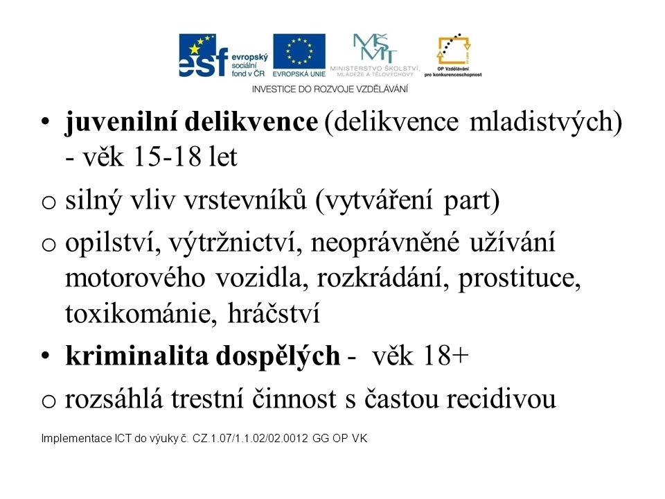 juvenilní delikvence (delikvence mladistvých) - věk 15-18 let