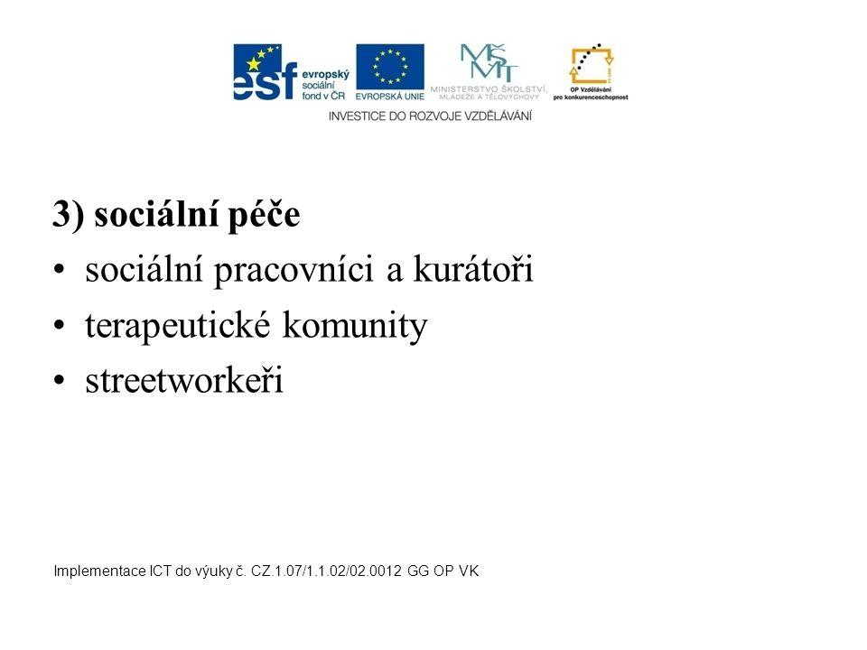 sociální pracovníci a kurátoři terapeutické komunity streetworkeři