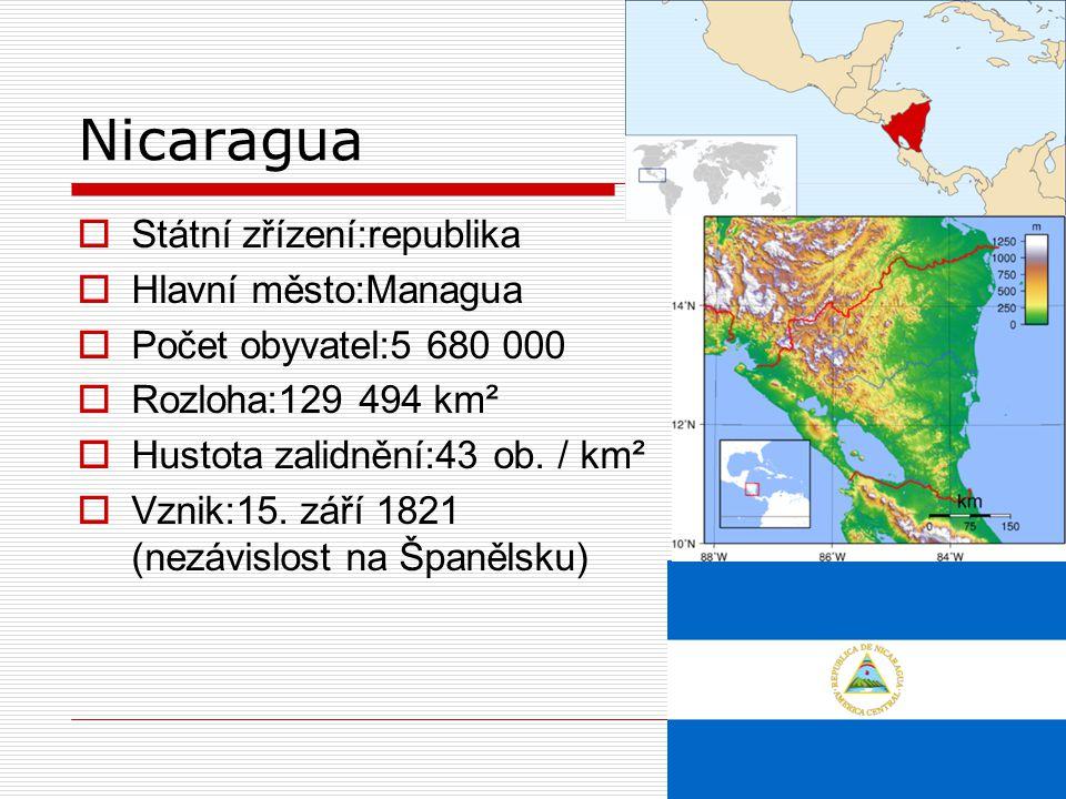 Nicaragua Státní zřízení:republika Hlavní město:Managua