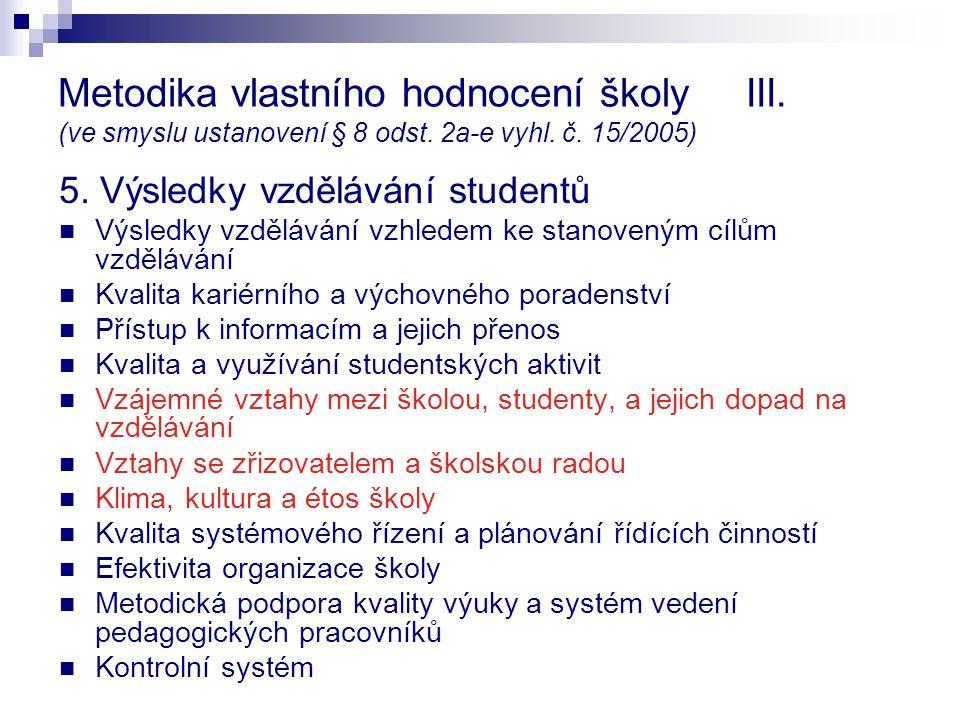 Metodika vlastního hodnocení školy III. (ve smyslu ustanovení § 8 odst