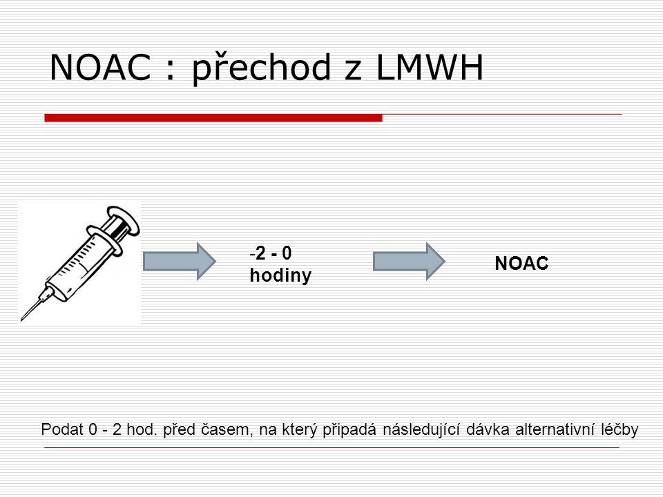 NOAC : přechod z LMWH 2 - 0 hodiny NOAC