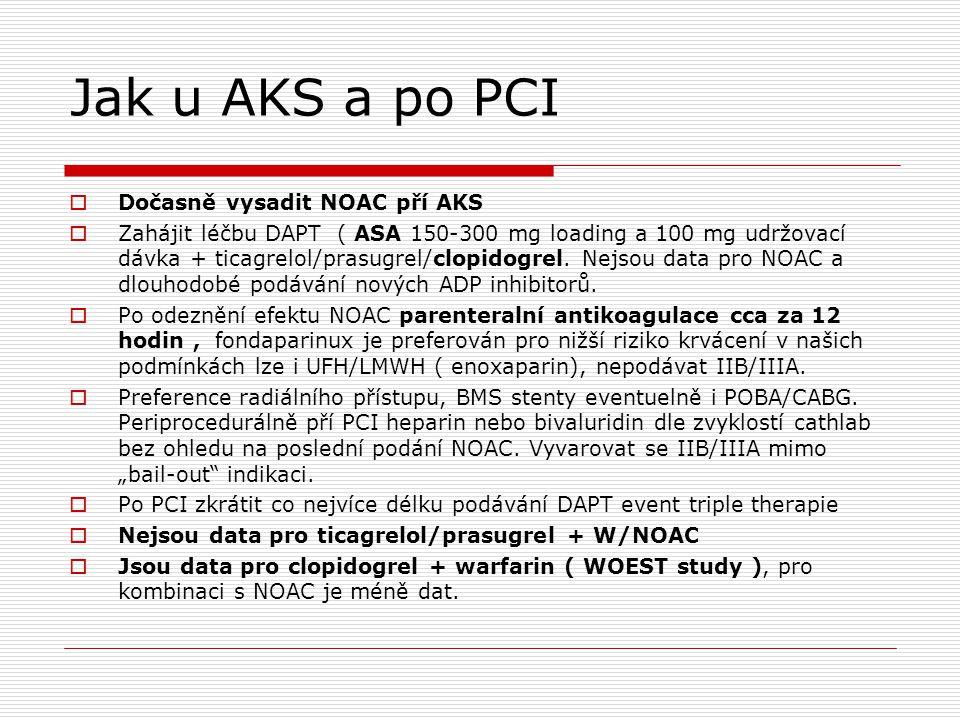 Jak u AKS a po PCI Dočasně vysadit NOAC pří AKS