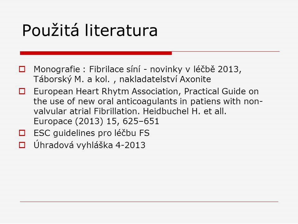 Použitá literatura Monografie : Fibrilace síní - novinky v léčbě 2013, Táborský M. a kol. , nakladatelství Axonite.