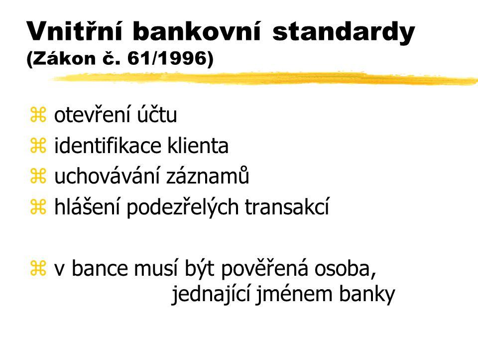 Vnitřní bankovní standardy (Zákon č. 61/1996)