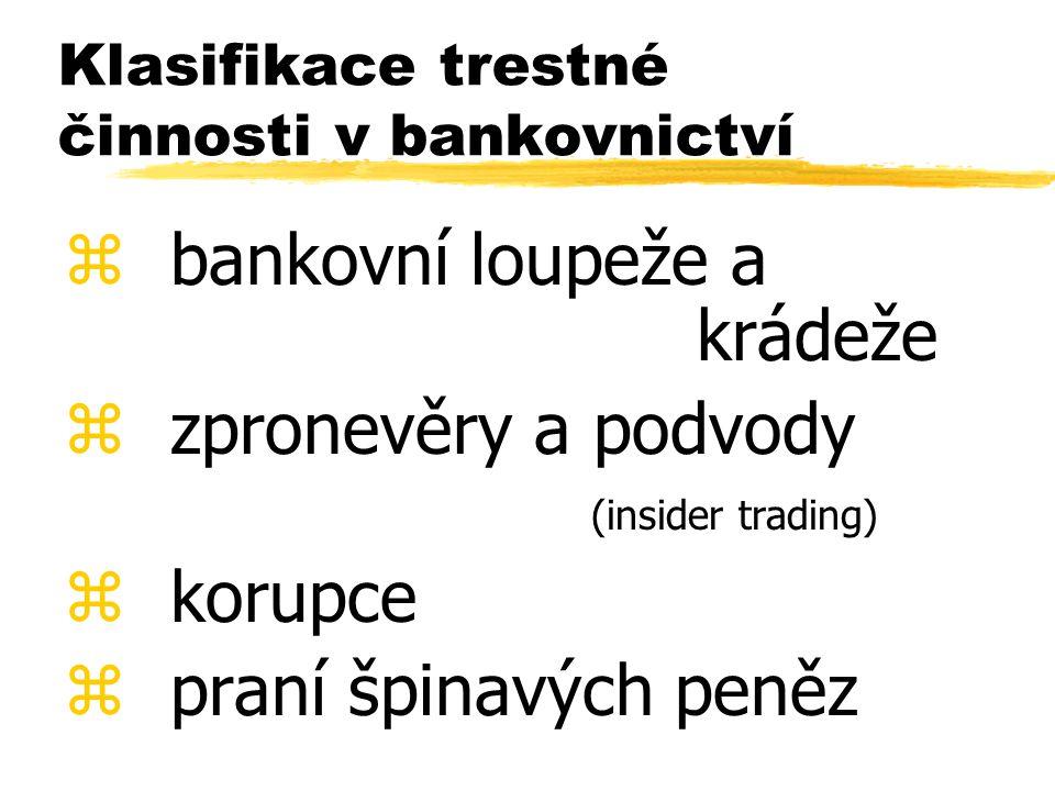 Klasifikace trestné činnosti v bankovnictví