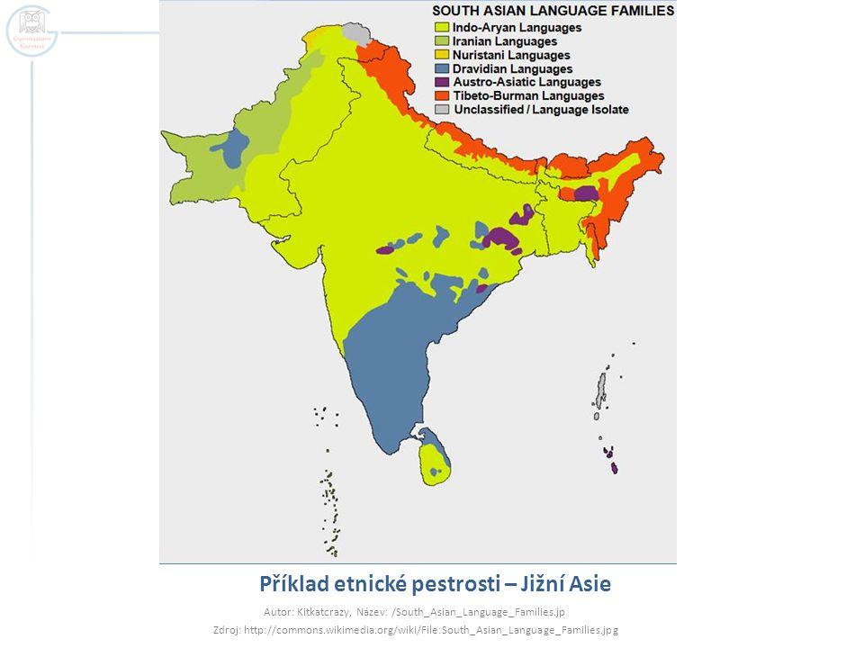Příklad etnické pestrosti – Jižní Asie