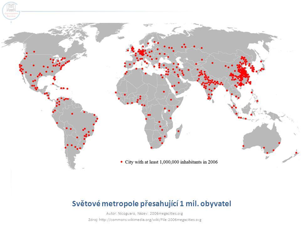 Světové metropole přesahující 1 mil. obyvatel