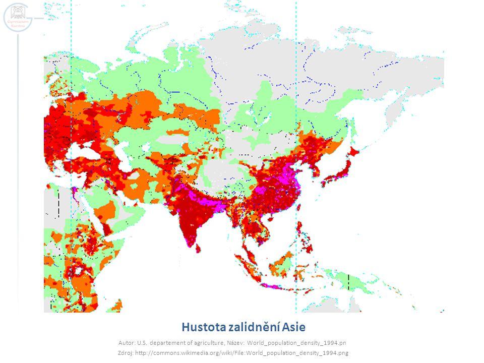 Hustota zalidnění Asie
