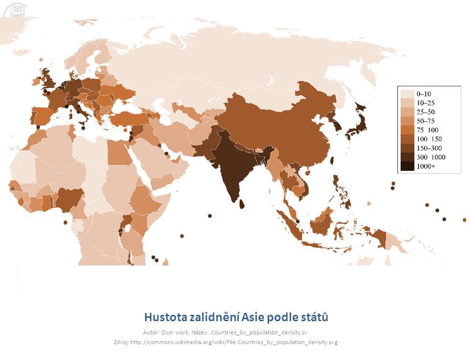 Hustota zalidnění Asie podle států
