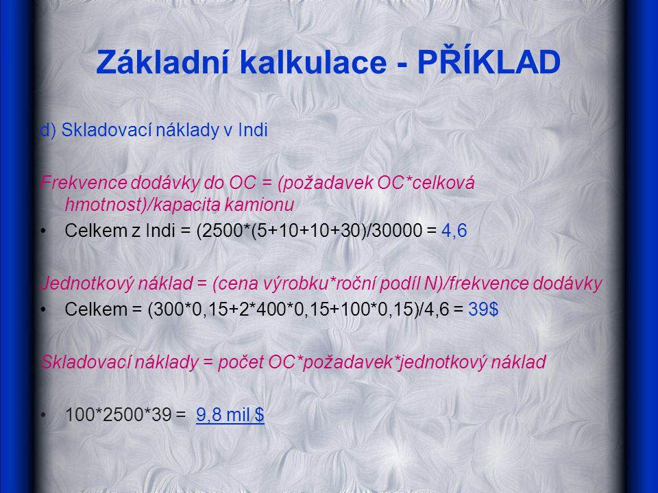 Základní kalkulace - PŘÍKLAD