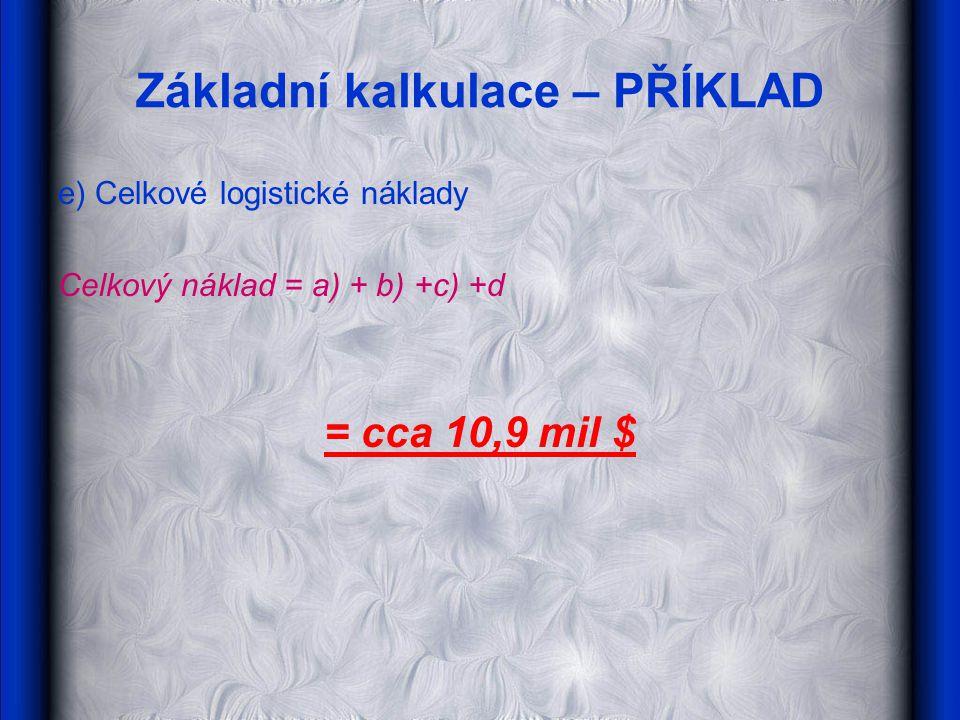 Základní kalkulace – PŘÍKLAD