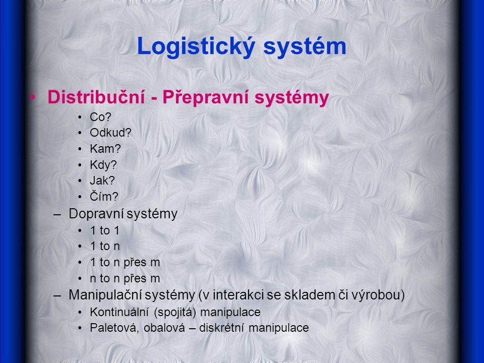 Logistický systém Distribuční - Přepravní systémy Dopravní systémy