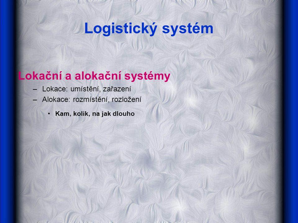 Logistický systém Lokační a alokační systémy