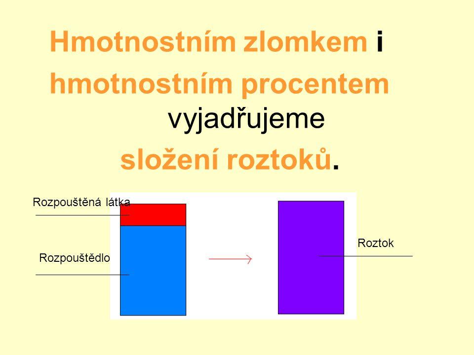 hmotnostním procentem vyjadřujeme složení roztoků.