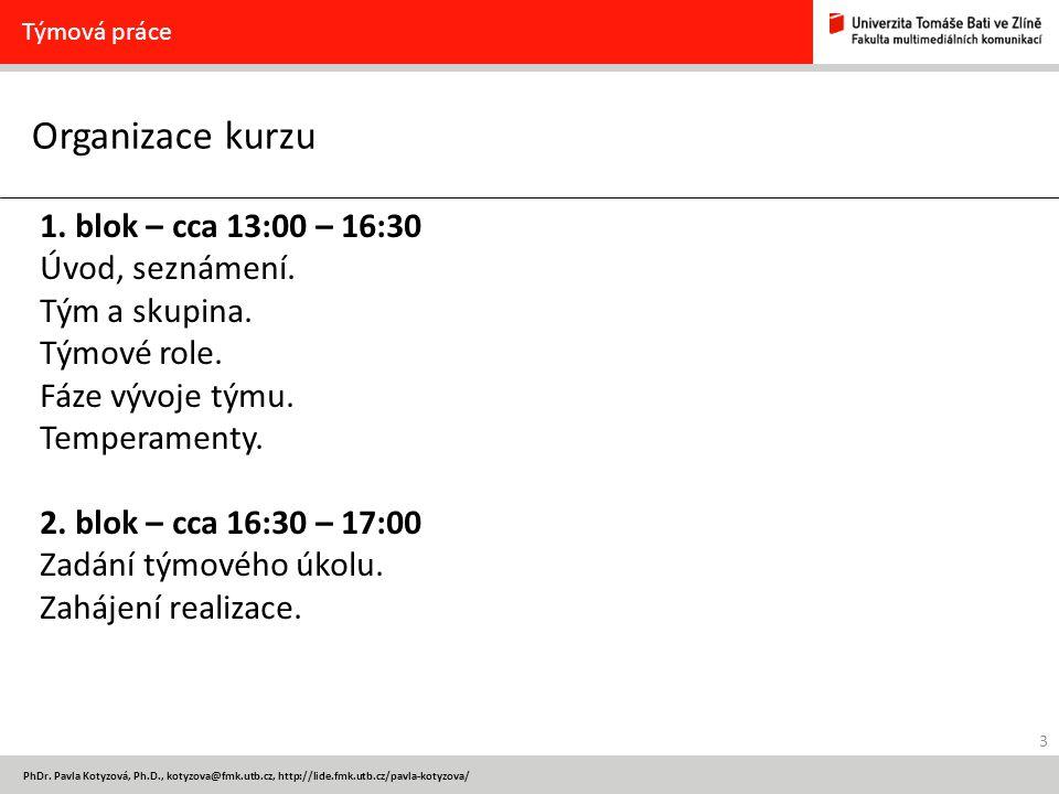 Organizace kurzu 1. blok – cca 13:00 – 16:30 Úvod, seznámení.