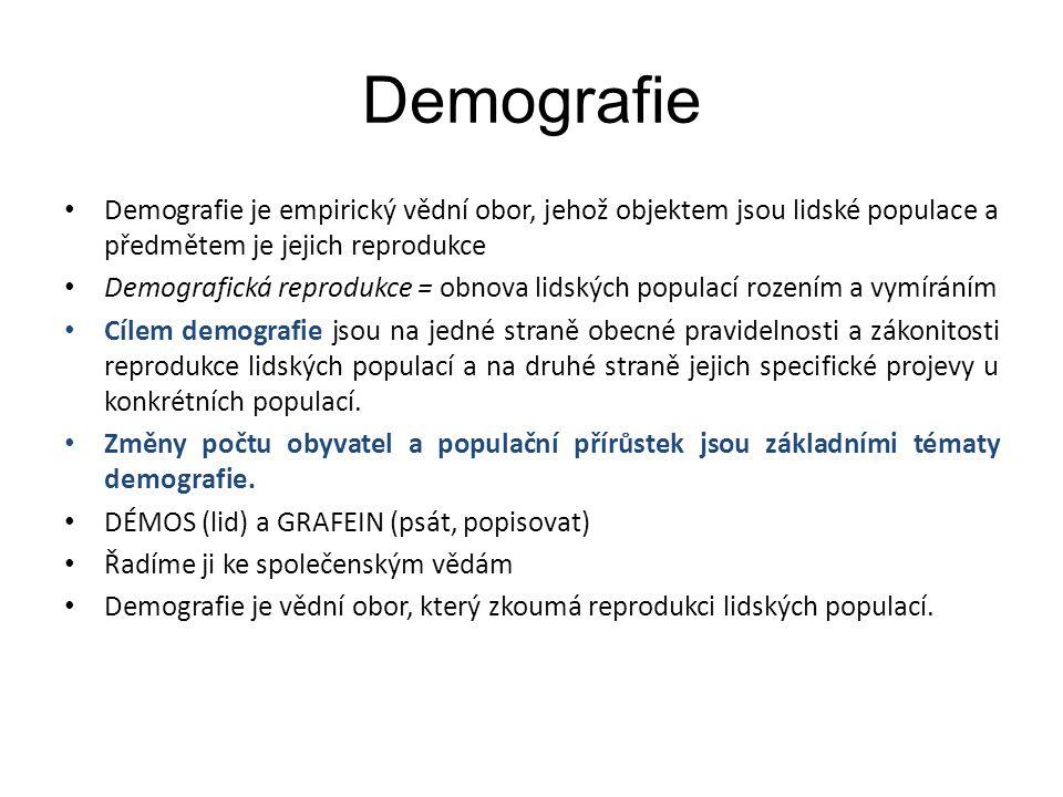 Demografie Demografie je empirický vědní obor, jehož objektem jsou lidské populace a předmětem je jejich reprodukce.