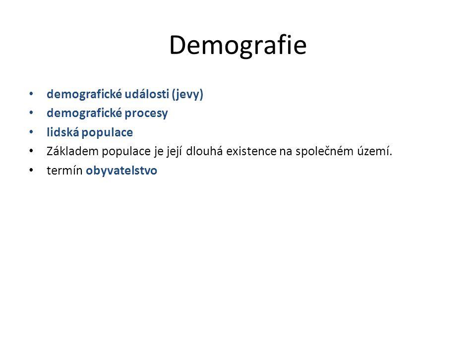 Demografie demografické události (jevy) demografické procesy