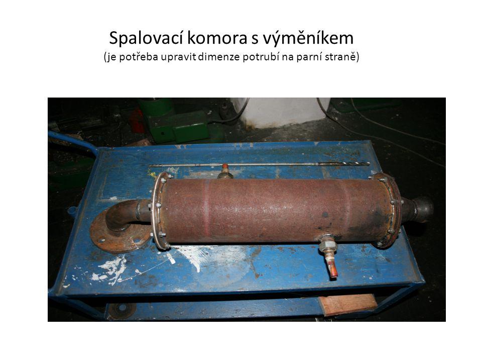 Spalovací komora s výměníkem (je potřeba upravit dimenze potrubí na parní straně)