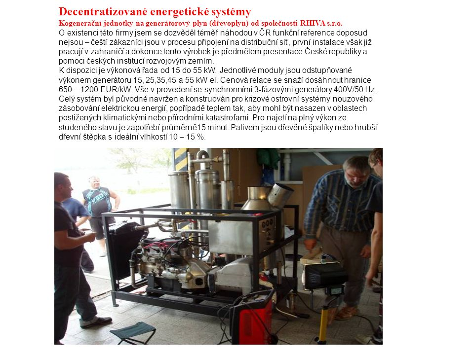 Decentratizované energetické systémy