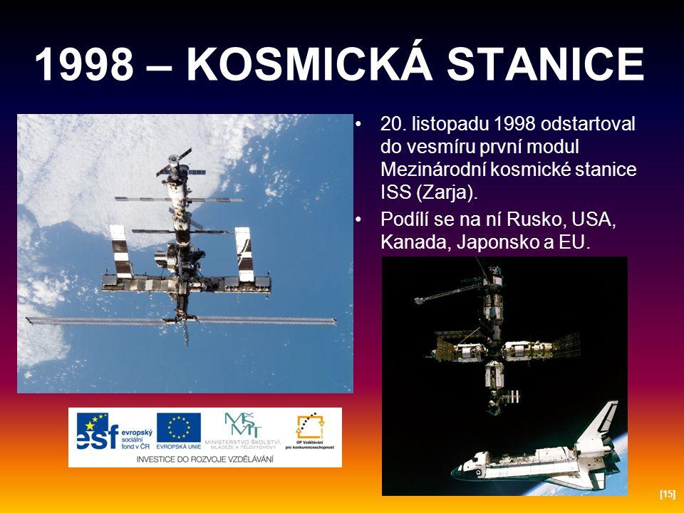 1998 – KOSMICKÁ STANICE 20. listopadu 1998 odstartoval do vesmíru první modul Mezinárodní kosmické stanice ISS (Zarja).