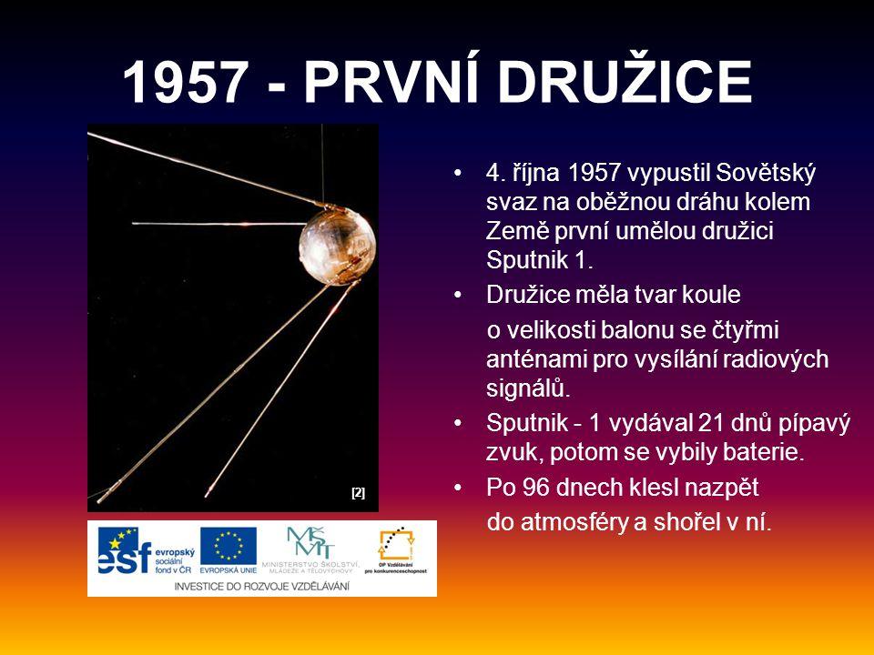 1957 - PRVNÍ DRUŽICE 4. října 1957 vypustil Sovětský svaz na oběžnou dráhu kolem Země první umělou družici Sputnik 1.