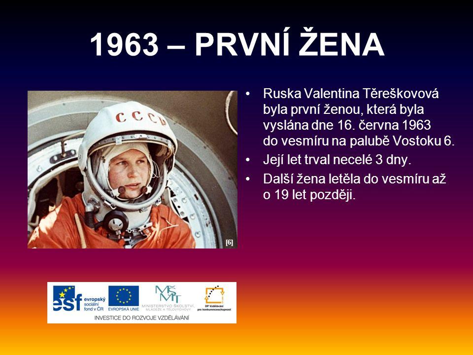 1963 – PRVNÍ ŽENA Ruska Valentina Těreškovová byla první ženou, která byla vyslána dne 16. června 1963 do vesmíru na palubě Vostoku 6.