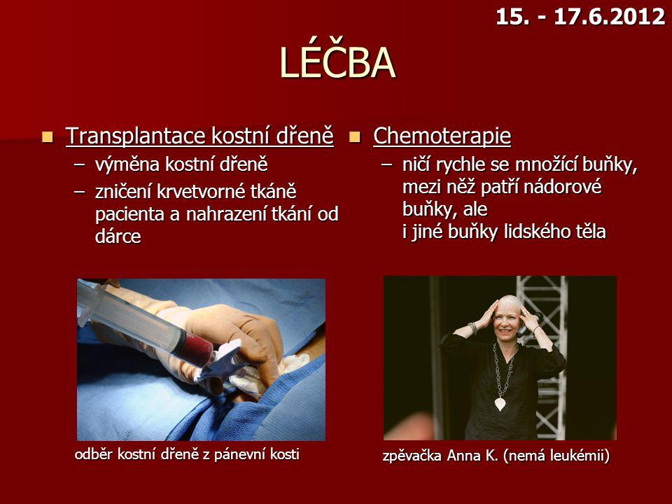 LÉČBA 15. - 17.6.2012 Transplantace kostní dřeně Chemoterapie