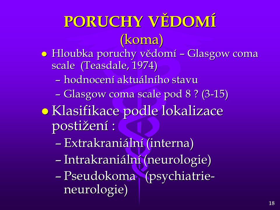 PORUCHY VĚDOMÍ (koma) Klasifikace podle lokalizace postižení :