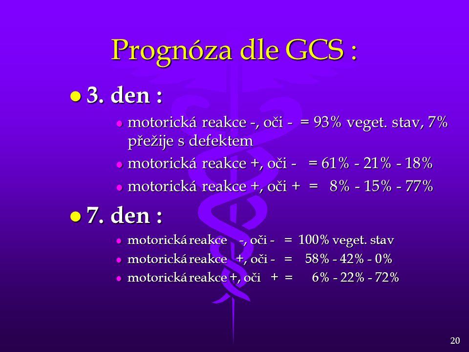 Prognóza dle GCS : 3. den : 7. den :