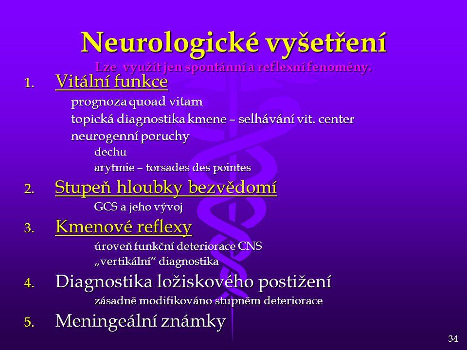 Neurologické vyšetření Lze využít jen spontánní a reflexní fenomény.