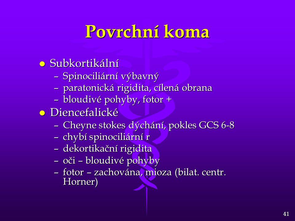 Povrchní koma Subkortikální Diencefalické Spinociliární výbavný