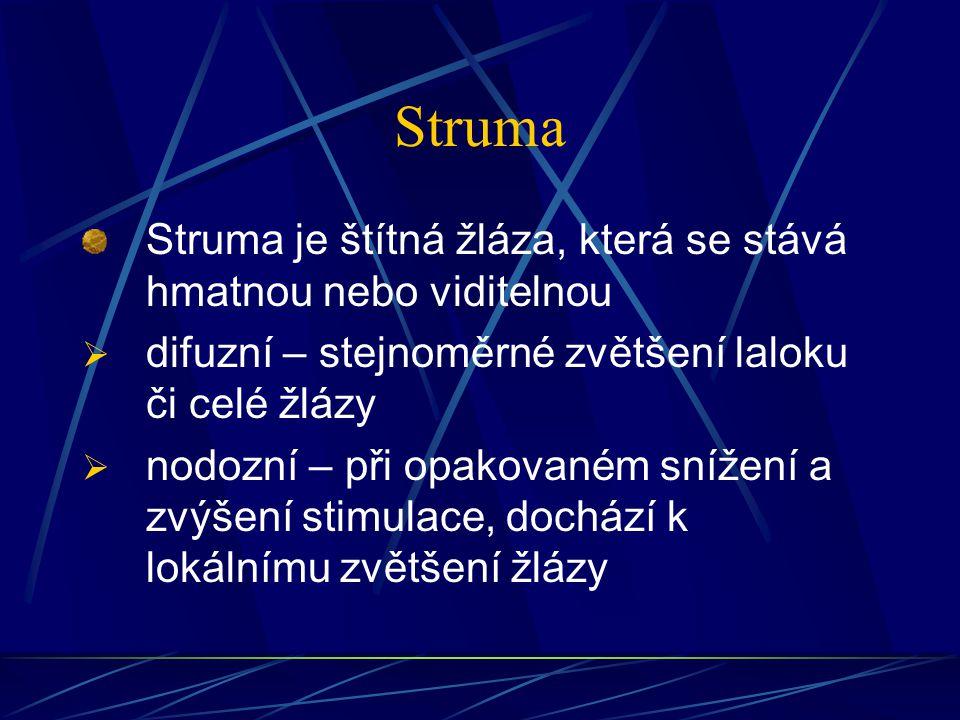 Struma Struma je štítná žláza, která se stává hmatnou nebo viditelnou