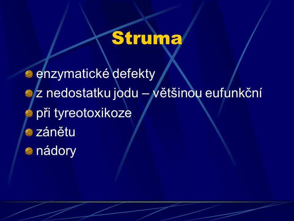 Struma enzymatické defekty z nedostatku jodu – většinou eufunkční
