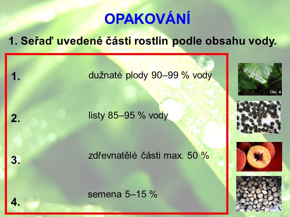 OPAKOVÁNÍ 1. Seřaď uvedené části rostlin podle obsahu vody. 1. 2. 3.