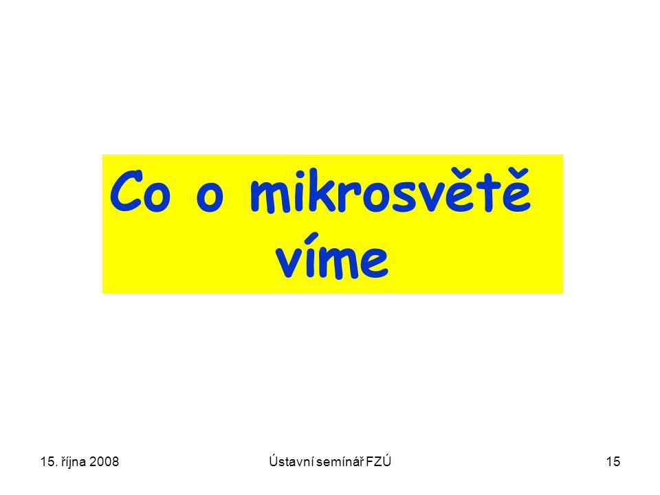 Co o mikrosvětě víme 15. října 2008 Ústavní semínář FZÚ